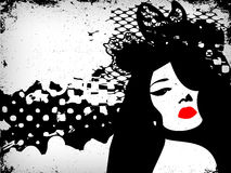 Immagine della donna nello stile del grunge, backg di concetto di modo Fotografia Stock Libera da Diritti