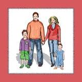 Immagine della famiglia abbozzo Fotografia Stock Libera da Diritti