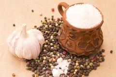 Immagine della foto di natura morta di Fugural del mucchio delle spezie, aglio, mestiere immagine stock