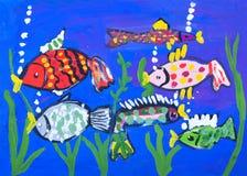 Immagine della gouache del bambino del fondo del mare Immagine Stock Libera da Diritti