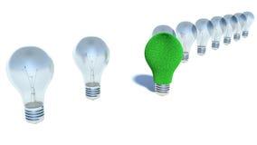 Immagine della lampadina, concetto sostenibile di energia Immagini Stock