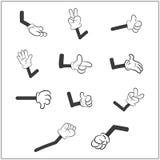 Immagine della mano umana dei guanti del fumetto con l'insieme di gesto del braccio Illustrazione di vettore su priorità bassa bi Immagine Stock