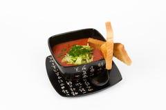 Immagine della minestra saporita del pomodoro con pane Immagini Stock Libere da Diritti