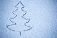 Immagine della neve dell'albero di Natale fotografie stock