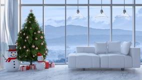 immagine della rappresentazione 3d del salone nel giorno di Natale immagine stock libera da diritti