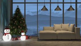 immagine della rappresentazione 3d del salone nel giorno di Natale fotografia stock libera da diritti