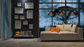 immagine della rappresentazione 3d di interior design nel festival di Halloween Fotografia Stock Libera da Diritti