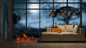 immagine della rappresentazione 3d di interior design nel festival di Halloween Immagini Stock Libere da Diritti