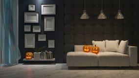 immagine della rappresentazione 3d di interior design nel festival di Halloween immagini stock