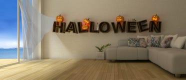 immagine della rappresentazione 3d di interior design nel festival di Halloween fotografia stock