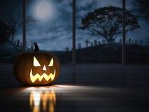 immagine della rappresentazione 3d della testa del pumpkind nella stanza scura royalty illustrazione gratis
