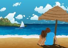 Immagine della riva di mare con le coppie sotto il parasole Bella immagine del fondo Coppie in vacanza Vacanza calda Viaggio cald Immagini Stock