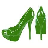 Immagine della scarpa delle donne su fondo bianco, Fotografia Stock