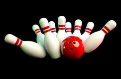 Immagine della scena di bowling con fondo nero Immagini Stock