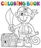Immagine 2 della scimmia del pirata del libro da colorare illustrazione di stock