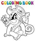 Immagine 1 della scimmia del pirata del libro da colorare illustrazione di stock