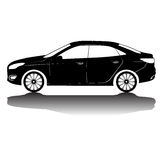 Immagine della siluetta dell'automobile isolata vettore Siluetta nera Automobile con la riflessione Fotografie Stock Libere da Diritti