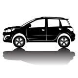 Immagine della siluetta dell'automobile isolata vettore Siluetta nera Automobile con la riflessione Immagine Stock Libera da Diritti