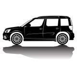 Immagine della siluetta dell'automobile isolata vettore Siluetta nera Automobile con la riflessione Fotografia Stock Libera da Diritti