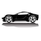 Immagine della siluetta dell'automobile isolata vettore Siluetta nera Automobile con la riflessione Immagine Stock