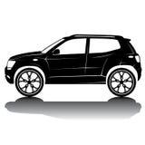 Immagine della siluetta dell'automobile isolata vettore Siluetta nera Automobile con la riflessione Immagini Stock Libere da Diritti