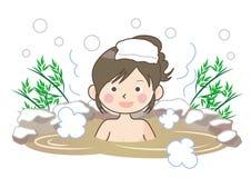 Immagine della sorgente di acqua calda - donna illustrazione vettoriale