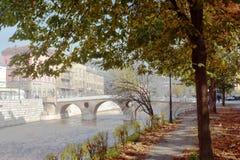Immagine della sponda del fiume della città con la vista di vecchi alberi di pietra di autunno e del ponte Fotografia Stock