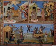 Immagine delle azione della pittura della parete del monastero di Rila Fotografie Stock Libere da Diritti
