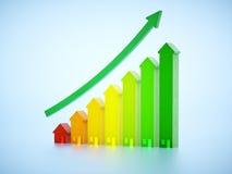 Immagine delle case con la crescita del grafico Immagini Stock Libere da Diritti