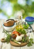 Immagine delle erbe, delle verdure e degli utensili Fotografia Stock Libera da Diritti