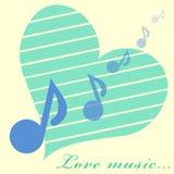 Immagine delle note e del cuore fotografie stock
