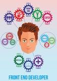 Immagine dello sviluppatore della parte frontale con i tratti e la pila Immagini Stock