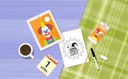 Immagine di April Holiday Clown In Jester di giorno dello sciocco royalty illustrazione gratis