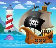Immagine 4 di argomento della nave di pirata illustrazione vettoriale