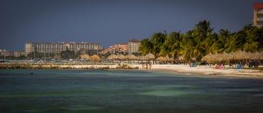 Immagine di Aruba con gli hotel e l'Oceano Atlantico del Palm Beach Immagini Stock Libere da Diritti