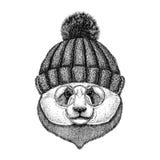 Immagine di bambù dell'orso di Panda Cute dei pantaloni a vita bassa per il tatuaggio, logo, emblema, progettazione del distintiv royalty illustrazione gratis