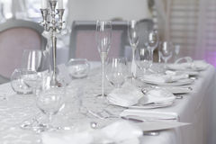 Immagine di bello insieme della tavola di nozze Fotografie Stock Libere da Diritti