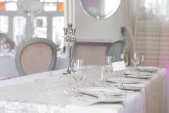 Immagine di bello insieme della tavola di nozze Fotografia Stock