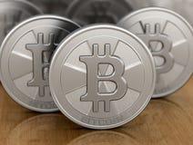 Immagine di bitcoin d'argento Fotografia Stock