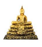 Immagine di Buddha con la foglia di oro isolata su fondo bianco Fotografie Stock
