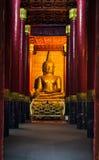 Immagine di Buddha in tempio di Wat Phra That Chang Kham Immagini Stock