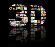 immagine di concetto della televisione 3D. Pannelli di film della TV Fotografia Stock Libera da Diritti