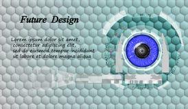 Immagine di Digital degli occhi azzurri con un'interfaccia dello schermo Progettazione per il web Esposizione agile Immagine Stock Libera da Diritti