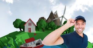 Immagine di Digital del fattorino che sta contro la casa e gli alberi durante il giorno soleggiato Fotografia Stock