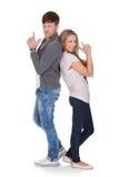 Immagine di divertimento delle coppie di duello Fotografia Stock Libera da Diritti