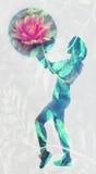 Immagine di doppia esposizione della palla di forma fisica della tenuta della donna immagini stock