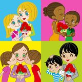 Immagine di giorno di madri, varia madre e bambini royalty illustrazione gratis