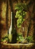 Immagine di Grunge del vino di vita ancora Fotografia Stock