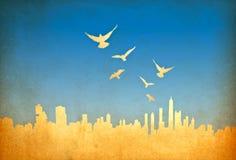 Immagine di Grunge di paesaggio urbano con gli uccelli Immagini Stock Libere da Diritti