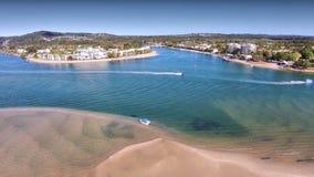 Immagine di immagine aerea miniatura del fiume di Noosa Fotografie Stock